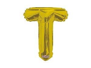 Balão Metalizada 25 cm - Dourada - Letra T