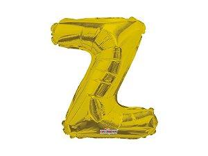 Balão metalizado 25 cm - Dourado - Letra Z