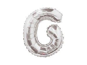 Balão Metalizado 22 cm - Prateado - Letra G