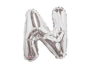 Balão Metalizado 27 cm - prateado - Letra N