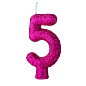 Vela Numeral Cintilante nº5 Rosa pink