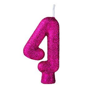 Vela Numeral Cintilante nº4 Rosa pink