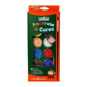 Aquarela 12 cores + pincel