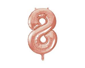 Balão Metalizados Rose Gold 40cm - Número 8