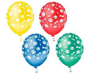 Balões Estampados N 10 - Patinhas Coloridas - 25 und- Pic Pic