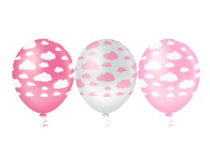 Balões Estampado N 10 - Nuvens Rosas e Branca- 25 und- Pic Pic