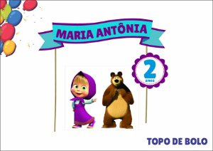 Topo de Bolo Personalizado - Marsha e o Urso