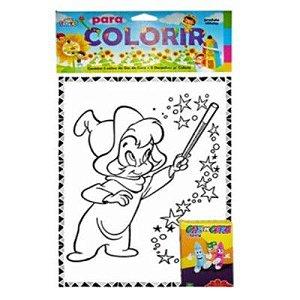 Livro Para Colorir Grande 10 Desenhos Giz De Cera