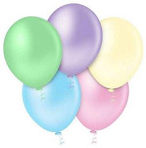 Balão Latéx Candy Color- Tom Pastel - 25 Unidades