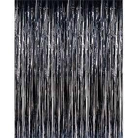 Cortina Metalizada para Festa - Preta - 1 x 1,20