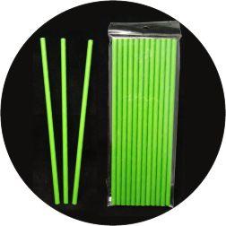 Canudo De Papel - Verde Liso - 12 Unidades