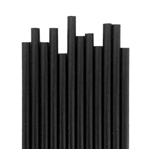 Canudo De Papel -  Preto Liso - 12 Unidades