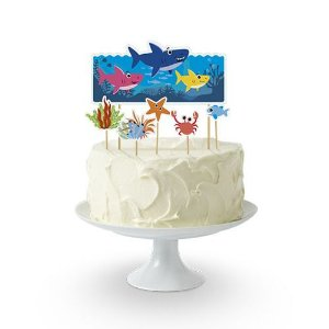 Topo de Bolo - Family Shark - 6 peças