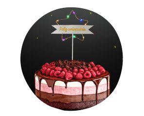 Topo de Bolo - Feliz Aniversário com Led
