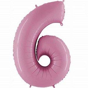 Balão Metalizado 40cm - Rosa Claro - Número 6