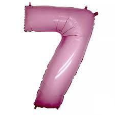 Balão Metalizado 40cm - Rosa Claro - Número 7