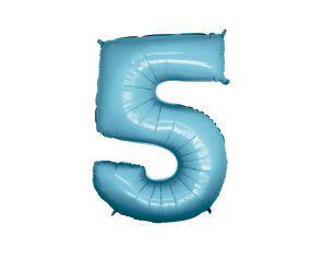 Balão Metalizado 40cm - Azul Claro - Número 5