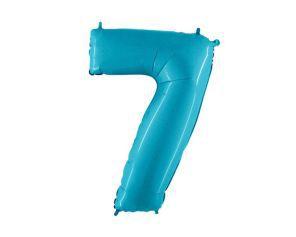 Balão Metalizado 70cm - Azul Claro - Número 7