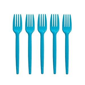 Garfo De Sobremesa Descartável - Azul Claro - 100 Unidades