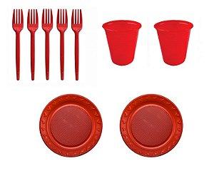 Kit Descartável - Vermelho - 150 Itens