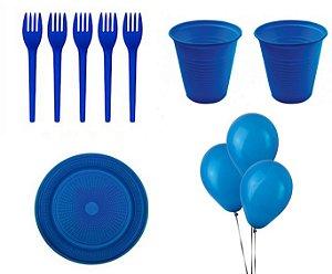 Kit Descartável - Azul  - 200 Itens