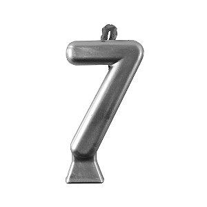 Vela Numeral Metalic - Prata Nº 7