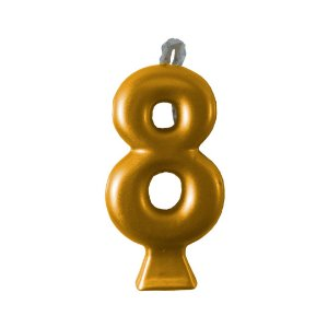 Vela Numeral Metalic - Dourada  Nº 8