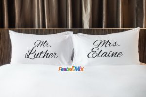 Fronhas Personalizadas  Par - Mr Luther & Mrs Elaine