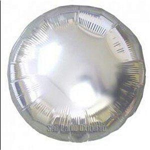 Balão Metalizado Redondo Prata- 45 cm