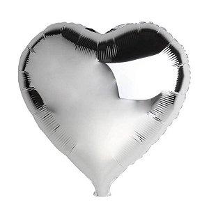 Balão Metalizado  - Coração Prata - 45cm