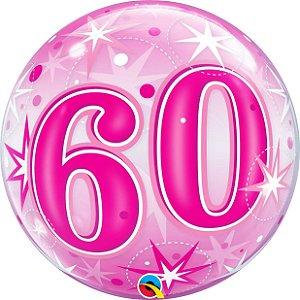 Balão bubble - 60 anos com estrelas rosa - 56 cm - Qualatex