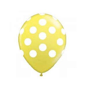 Balão N° 10- Bolinhas Amarelo com Branco - 25 unidades