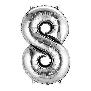 Balão de Numero 8 Prata - 40 cm