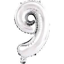 Balão de Numero 9 Prata - 45 cm