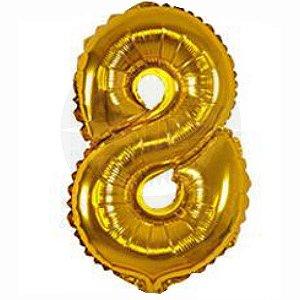 Balão Numero 8 Metalizado 45cm
