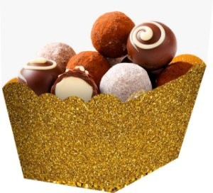 Cachepot  Papel Glitter Dourado - 10 und