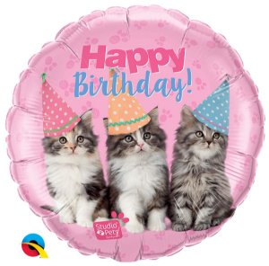Balão Metalizado  Pets - Gatos - Happy Birthaday- 18 Polegadas