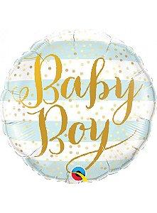 Balão Metalizado  Baby Boy listra Azul