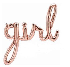 Balão Metalizado Escrita  Girl - Rose Gold