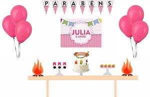 Kit Festa Espetacular Personalizado - Festas Junina Rosa