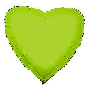 Balão Metalizado  - Coração Verde Limão Cromo - 45cm