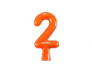 Vela de Aniversário Laranja Neon  - Número 2