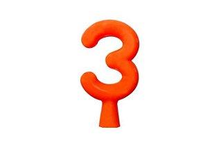 Vela de Aniversário Laranja Neon - Número 3