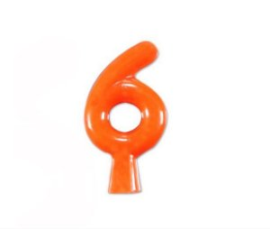Vela de Aniversário Laranja Neon - Número 6