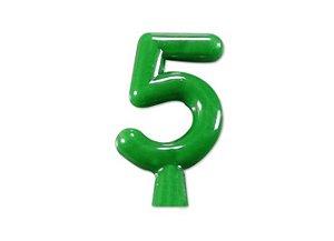Vela de Aniversário Verde Neon - Número 5
