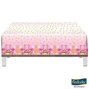 Toalha Plástica  - Let's Flamingo
