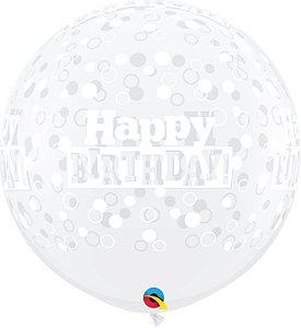 Balão Latex Redondo 3 Pés -Transparente com bolinhas - Gigante