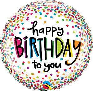 Balão Metalizado 18 cm - Happy Birthday - Pontos Coloridos