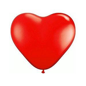 Balão Látex n°6 - Coração Vermelho - 50 Unidades