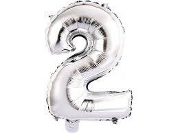 Balão Metalizado Numero 2 Prata - 70 cm